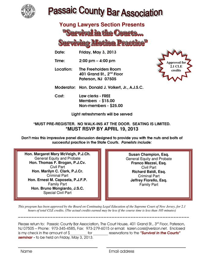 Passaic County Bar Association - Survival In The Courts - May 3 2013