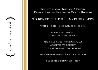 GDM Law039s Fifth Annual Cocktail Reception To Benefit The US Marine Corps  April 28 2016
