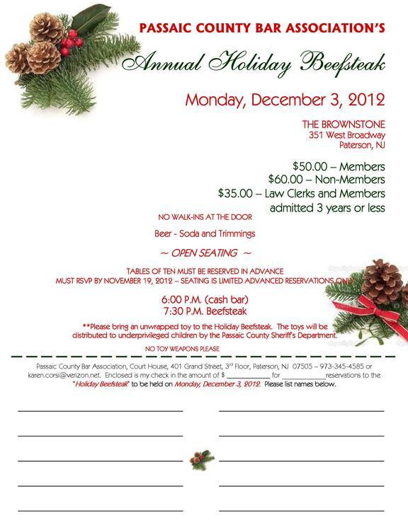 Passaic County Bar Association Holiday Beefsteak  December 3 2012