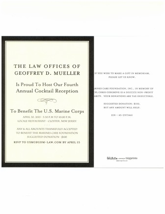 GDM Law039s Fourth Annual Cocktail Reception To Benefit The US Marine Corps  April 30 2015